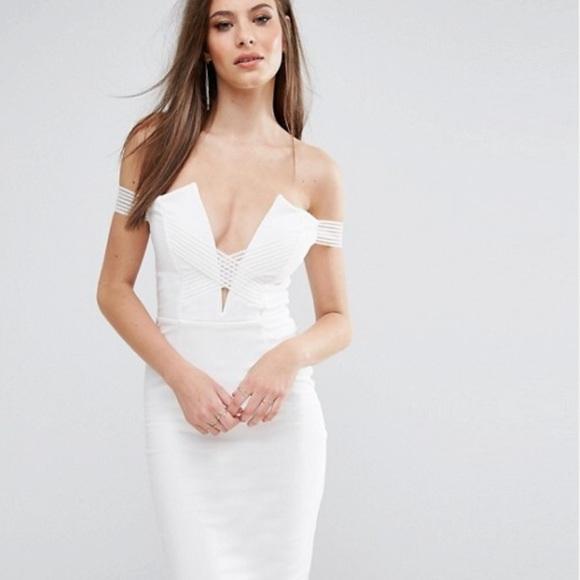 8fe856e739 Asos Bardot Cross Strap White Plunge Midi Dress
